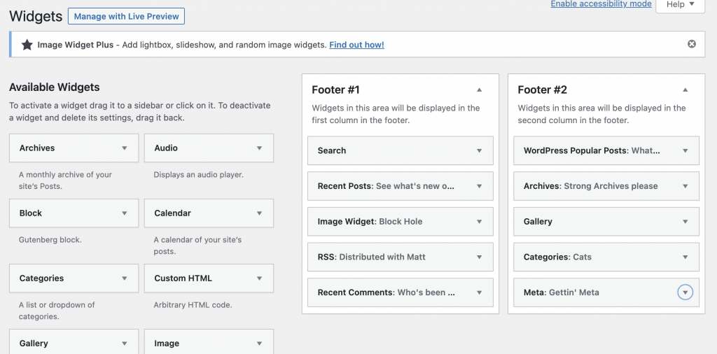 Legacy WordPress Widget screen showing two widget areas each with 5 active Widgets.