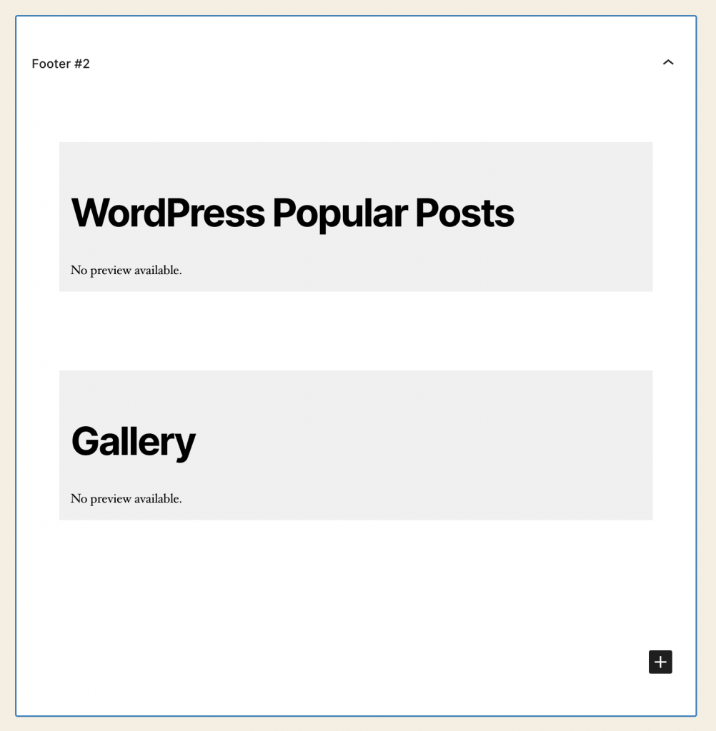 Screenshot showing missing previews for the WordPress Popular Posts and Gallery widgets.
